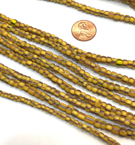 Vintage Yellow with Red White & Blue Striped Small Ghana Glass Beads BA-A103D