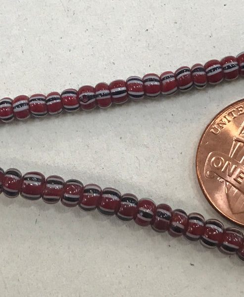 Vintage Brick Red, White and Black Striped Small Ghana Glass Beads BA-A43K