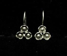 Tri Flower Thai Hill Tribe Silver Earrings