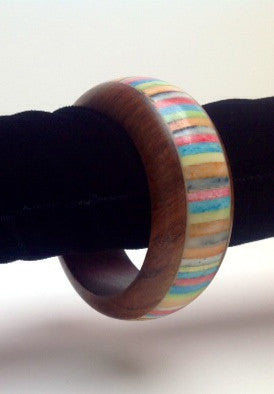 Wood and Multi-Colored Bone Bangle