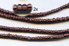 Plum and Black Striped Ghana Glass Beads BA-A43KP