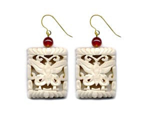 Butterfly Cut-Out Bone Carnelian Earrings