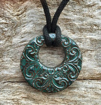 Terracotta Necklace - Swirls (Green)