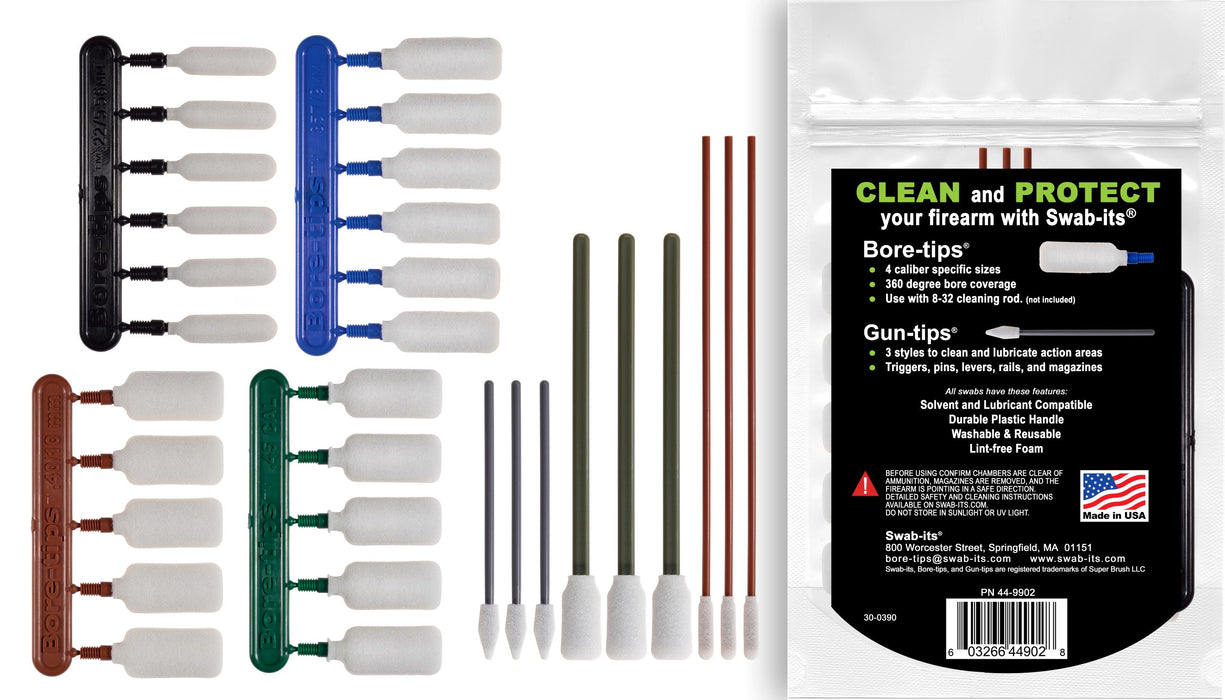 (NEW) Swab-its® .22cal/.357cal/.40cal/.45cal Handgun Firearm Cleaning Kit: 87-9902