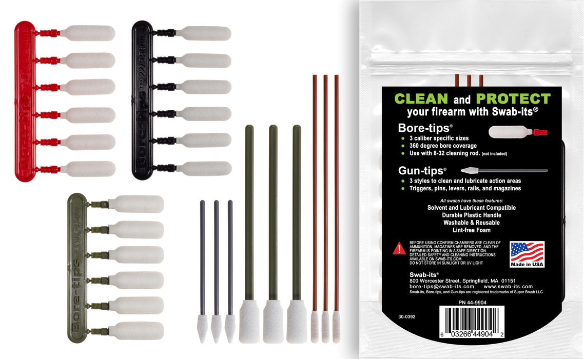 (NEW) Swab-its® .22cal/.243cal/.30cal/.40cal Rifle Firearm Cleaning Kit: 87-9904