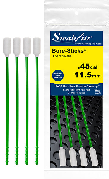 (12 Bag Case) .45cal/11.5mm One-Piece Rod W/Swab Cleaning Tool Bore-Sticks™ by Swab-its®: 43-4509-12-2