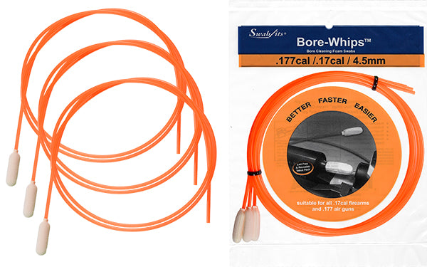 .17cal/.177cal/4.5mm Air Rifle Gun Cleaning Bore-whips™ by Swab-its®
