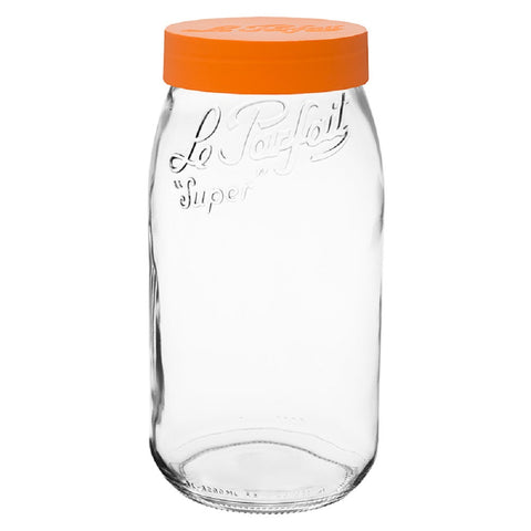 Le Parfait Glass Super Jar with Orange Top Jar - 3 Liters