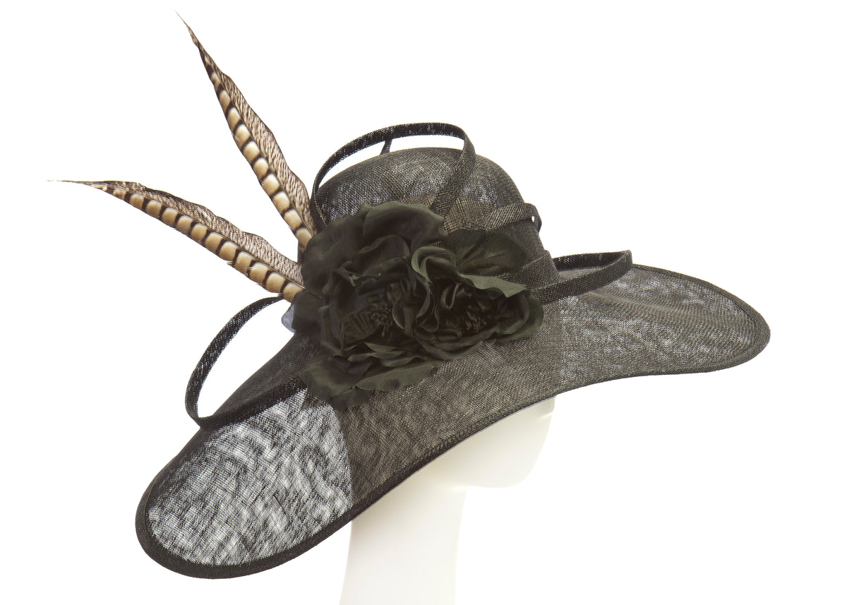black derby hat with silk flowers and feather accents