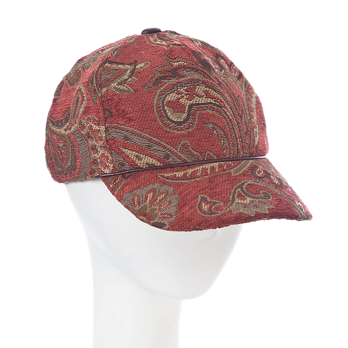 red tapestry patterned ball cap