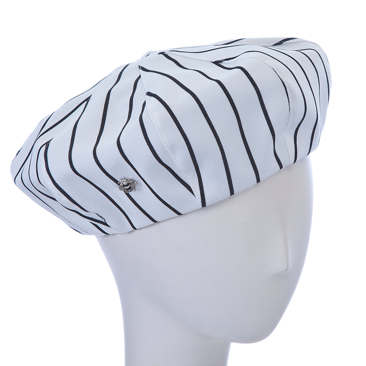 striped beret ~ white