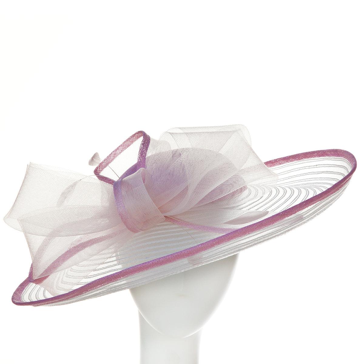white and lavender women's derby hat with bow