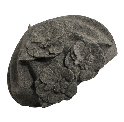 charcoal flower beret