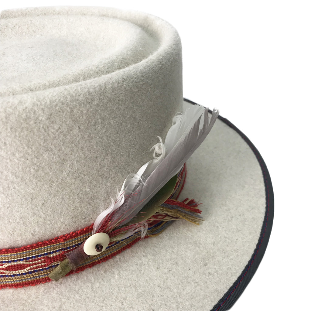 hatWRKS original with handwoven hatband and custom feather