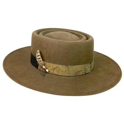 custom western weight beaver blend fur felt hat with double telescope crown