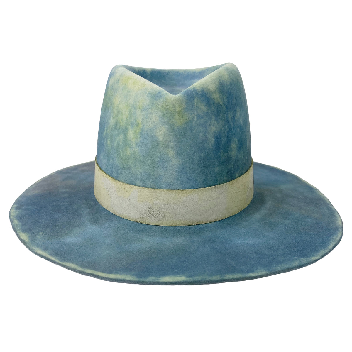 custom leather hatband and hand dyed hat body