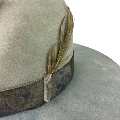 custom leather hatband with crystal accents
