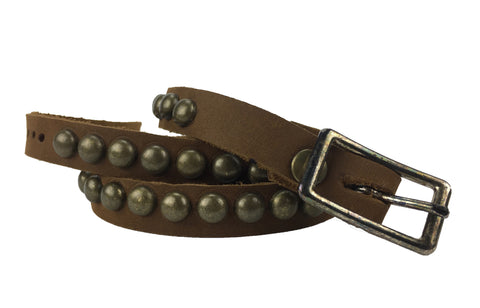old west leather with brass studs