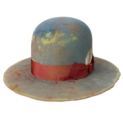 hand dyed hatbody with  grosgrain ribbon with feather