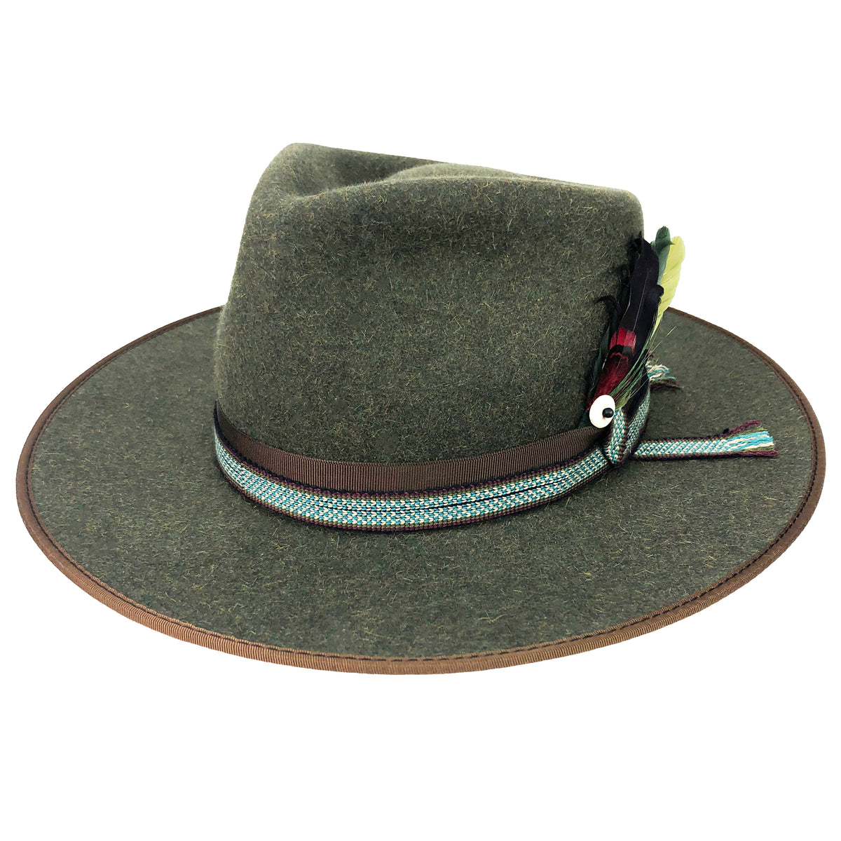 hatWRKS original, made with dress weight fur felt and has a teardrop fedora crown with a bound brim