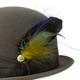 custom dyed grosgrain ribbon hatband with feather