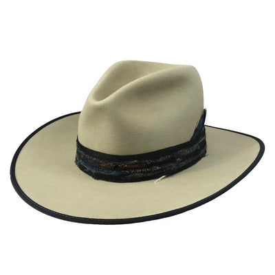 bound brim with custom hatband and feather