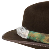 custom dyed leather hatband with feather