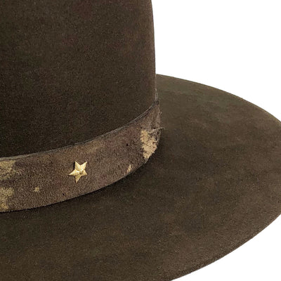 custom hatband with vintage star accent