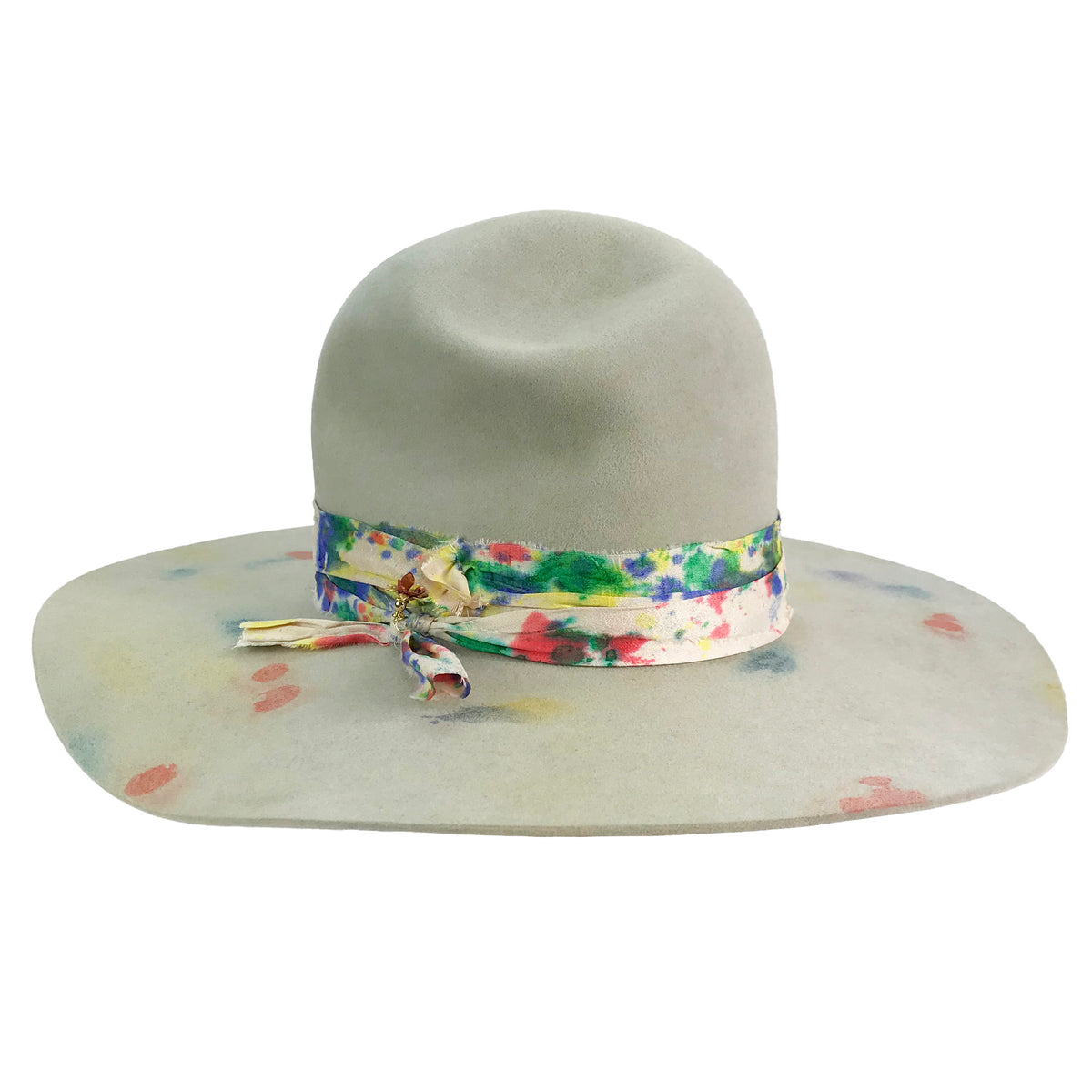 hand dyed hat body with bashed in open crown