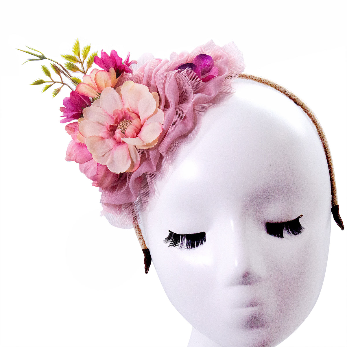 women's headband style fascinator with flowers