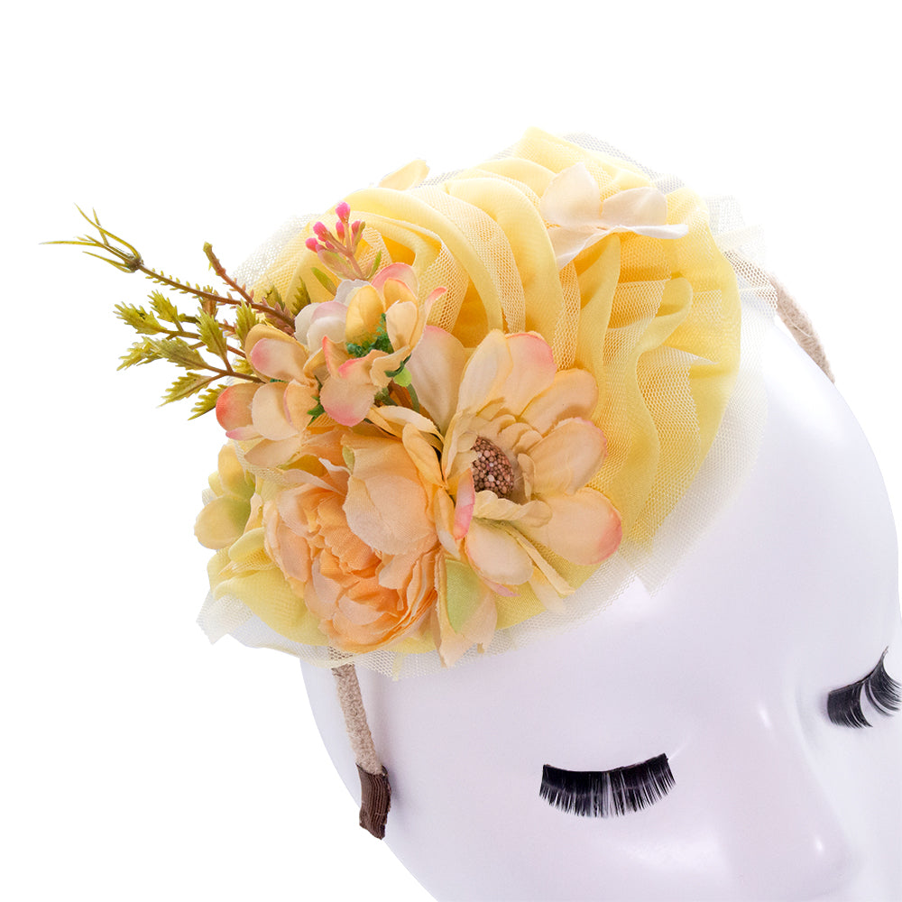 yellow floral fascinator for women