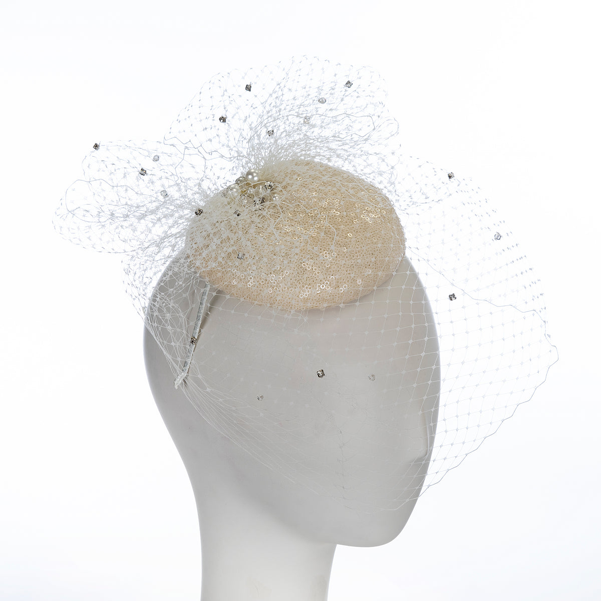 off white sequined veil fascinator