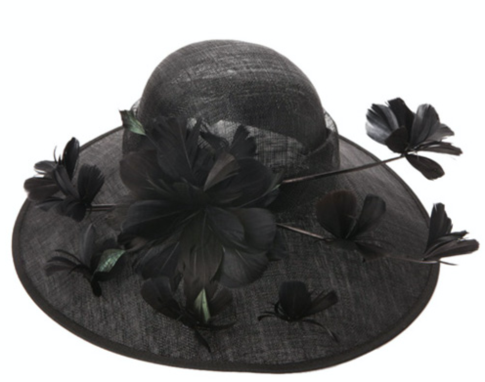 women's black sinamay straw fascinator hat