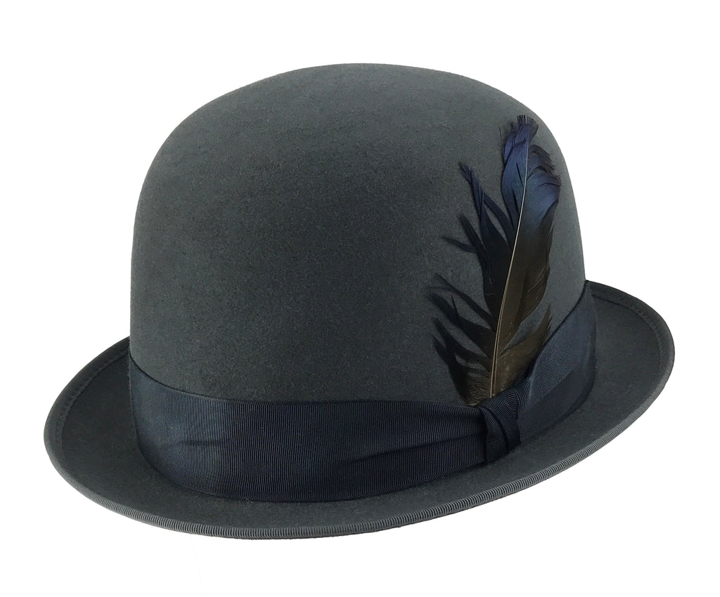 hatWRKS original 'downtown derby' with grosgrain ribbon and feather accent