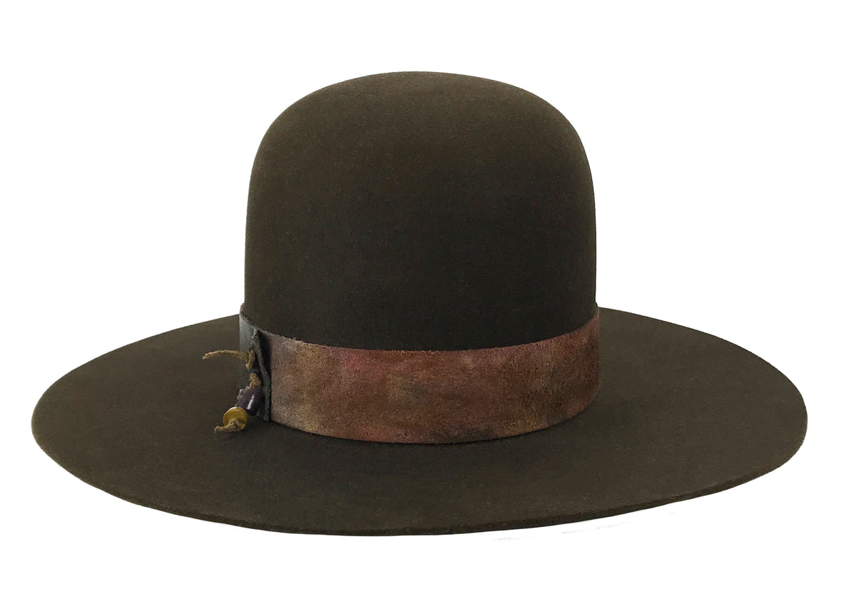 hatWRKS original hat with custom leather hatband with beads