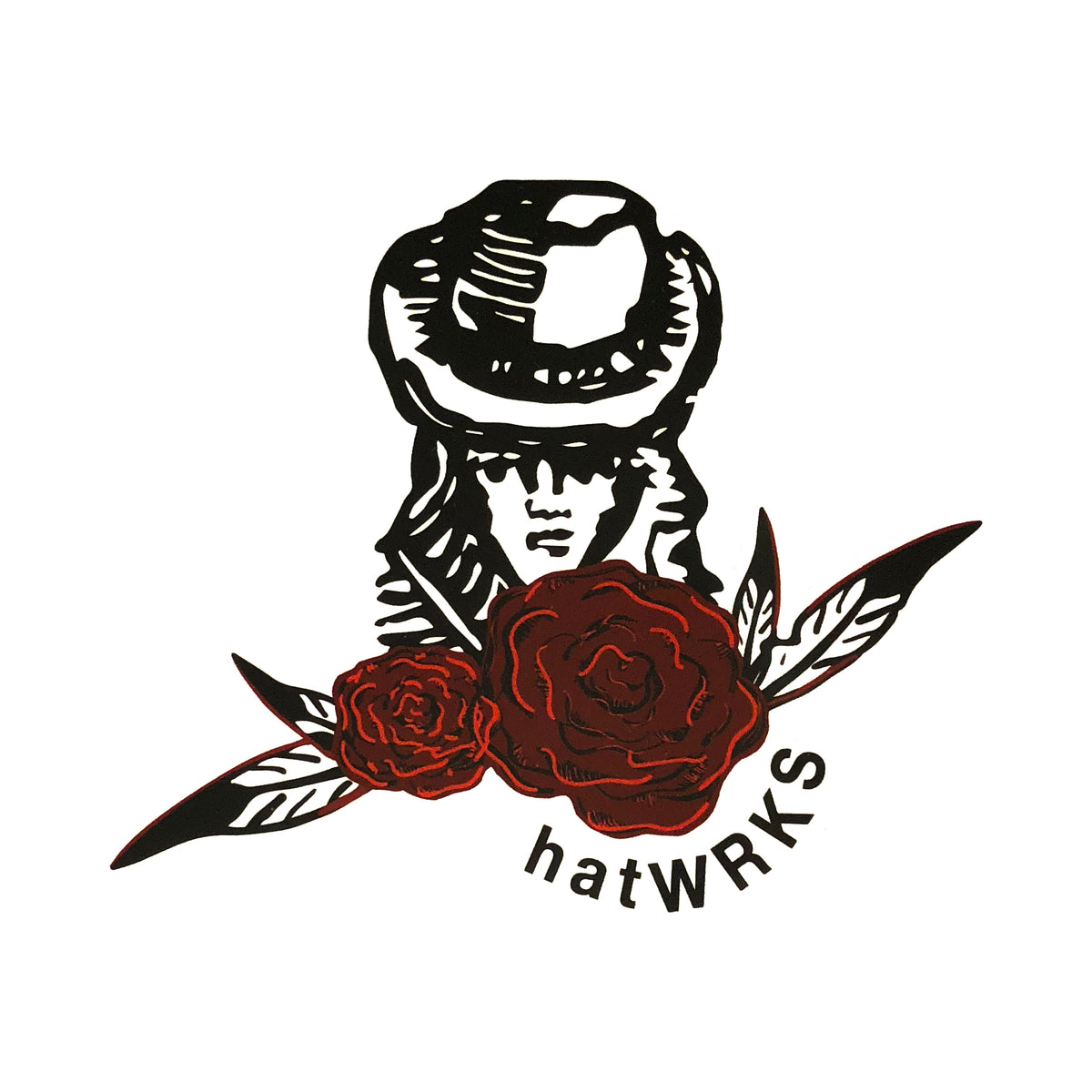 "hatWRKS sticker ~ ""rose logo"""