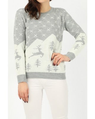 grey reindeer christmas jumper