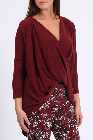 Wine Red Crossover Top