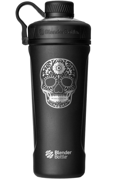 Black Insulated Stainless Steel BlenderBottle Brand Radian Shaker Cup Sugar Skull Special Edition