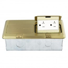 Enerlites Double Square Pop-up Floor Box with 2 Tamper-Weather Resistant Decorator Receptacle - Brass