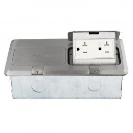 Enerlites Double Square Pop-up Floor Box with 2 Tamper-Weather Resistant Decorator Receptacle - Stainless Steel