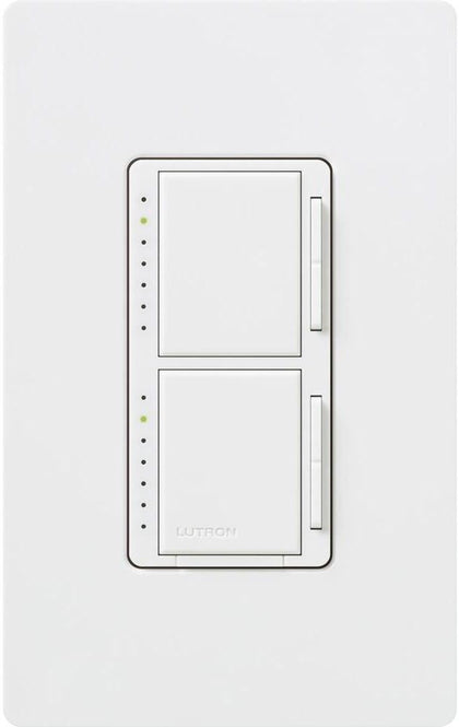 Lutron Maestro 300-Watt Single Pole Dual Dimmer with Wall Plate - White - Southern California Electric