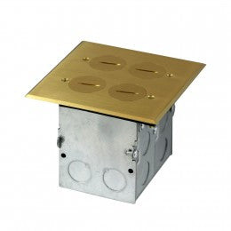 Enerlites Floor Box with 20A Tamper-Weather Resistant Receptacle & Datacom - Brass - Southern California Electric