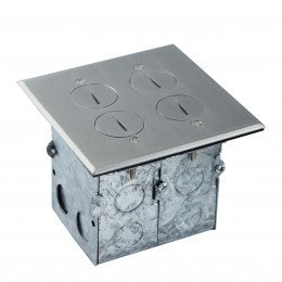Enerlites Floor Box with 20A Tamper-Weather Resistant Receptacle & Datacom - Stainless Steel