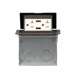 Enerlites Soft Pop-up Floor Box with 4.0A USB & 20A Decorator Tamper-Weather Resistant Receptacle - Stainless Steel - Southern California Electric