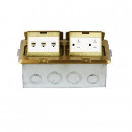 Enerlites Rectangle Pop-up Floor Box w/ 20A Tamper-Weather Resistant Decorator Receptacle & 3 RJ45 Jacks - Copper