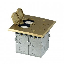 Enerlites Two Gang Floor Box with Tamper-Weather Resistant Duplex Receptacle - Copper - Southern California Electric