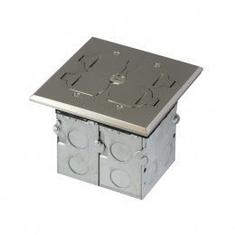 Enerlites Two Gang Floor Box with Tamper-Weather Duplex Receptacle & Mulitmedia Ports - Stainless Steel - Southern California Electric