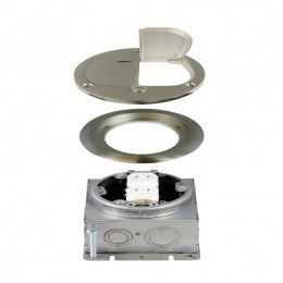 Enerlites Round Floor Box Kit with Tamper-Weather Resistant Duplex Receptacle - Stainless Steel