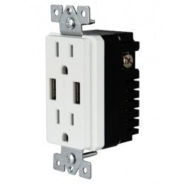 "Enerlites 61501-TR2USB 4.0A High Speed ""Smart"" USB Charger w/ 15A Tamper Resistant Receptacle"
